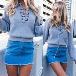 Suéter de cuello en V suéter de punto básico del vendaje de las mujeres