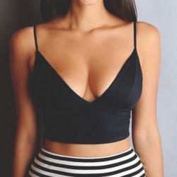 Sexy cuello halter negro