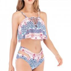 Bikinis de verano estampados con volantes en cintura alta y cintura alta