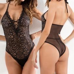 Sexy ver a través de encaje siamés malla perspectiva vendaje mujeres lencería