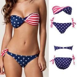 Moda Estado unido Bandera Bikini Traje de baño