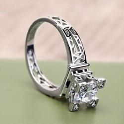 Amor París Eiffel Torre Diseño Romántico Embutido Circón anillo