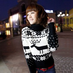 Christmas Deer Snowflake High Collar Sweaters