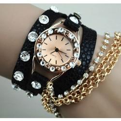 Reloj de pulsera de cuero de diamantes de imitación completo