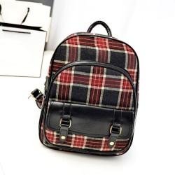 Linda tela escocesa rayada mochila de lona