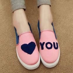 Zapatos de lona de patrón asimétrico corazón lindo