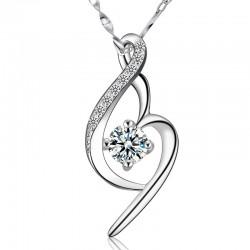 Collar de plata con diamantes y cristal de amor