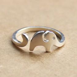 Hecho a mano Linda Pequeña elefante 925 Libra esterlina Plata Apertura anillo