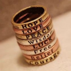 Punk retro Letras Deseando anillo