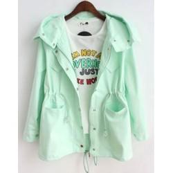 Casual Candy Colors bolsillo con cordón abrigo con capucha