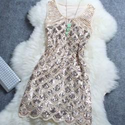 Vestido de mujer de club nocturno con lentejuelas de Starry Beaded