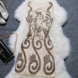 Vestido de fiesta de lentejuelas bordado estrellado delgado