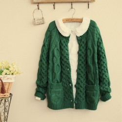 Suéter retro grueso giro suéter