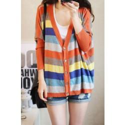 Gran chaqueta suelta de punto chaqueta de protección solar suéter