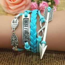 Cute Owl Arrow Best Friend Infinity Bracelet