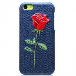 Bordado moda flor vaquero vaquero Iphone 5C Fundas