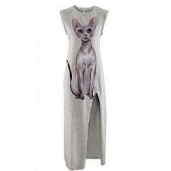 Vestido largo gris con estampado de gato en un lado con abertura larga
