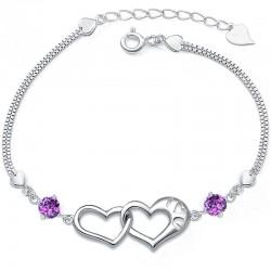 Bonitas pulseras de diamante de plata pura en forma de corazón 925