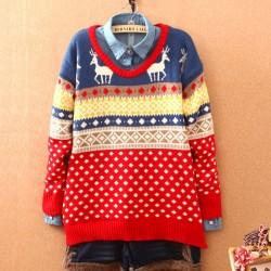Sweet Deer Quilted Snowflake Christmas Sweater