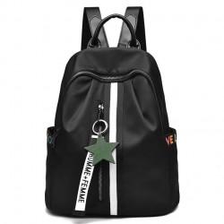 Mochila negra de la decoración de la estrella de Oxford de la raya blanca de la moda