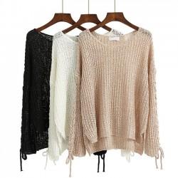 Moda con cordones de manga larga ahuecada más larga en el suéter trasero