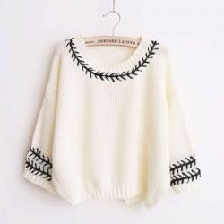 College Sweet Weave encaje O-cuello batwing manga hendidura espalda tejer suéter flojo
