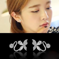 Elegante Brillante Embutido Diamante Mariposa Moda Plata Aretes