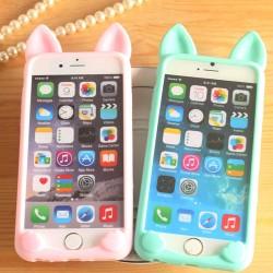 Gato Orejas Encantador Animales IPhone 4 / 4s / 5c / 5 / 5s / 6 / 6p Fundas de silicona blanda