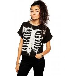 Punk Style Skull Tide Models Batwing manga camiseta