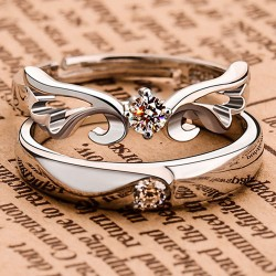 Original Ángel Alas pareja 925 Plata Apertura anillo