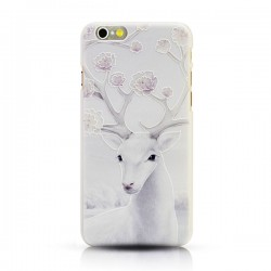 Art Navidad Nieve Alce Blanco Alivio Fresco Fundas para iPhone 5 / 5s / 6 / 6p