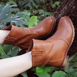 Low Heel Rivet Cattle Hide Leather Martin Boots