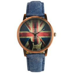 UK Flag Denim Pattern Strap Reloj vintage