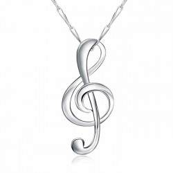 Elegante colgante de plata esterlina pura pulido collar de la nota de la música