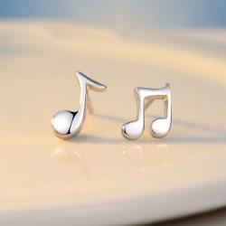 Asimétrico Libra esterlina Plata Música Nota Pulido minimalista Aretes