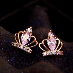 Noble Winky Princesa' Plata Diamante corona Aretes