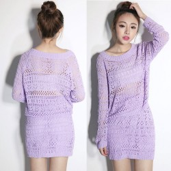 Vestido de suéter de dos piezas Slim Hollow Out