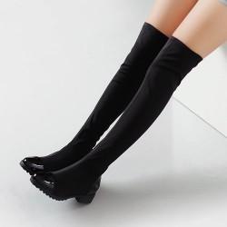Botas sobre la rodilla de cuero elástico clásico Botas altas
