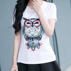 Ocio lentejuelas dibujos animados búho bordado patrón blanco camiseta de algodón