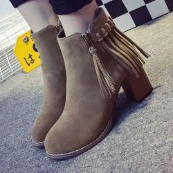 Side Zipper Round Toe Tassel High Heeled Ankle Short Boot