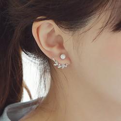 Moda Hojas Plata Pendientes de perlas de mujer