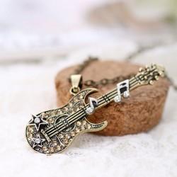 Guitarra de la música de la roca de la manera Notas bajas del diamante Collar pendiente