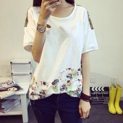 Camiseta bordada encantadora fresca de la manga corta del cuello redondo floral flojo del búho