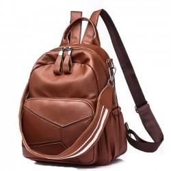 Ocio PU cuero marrón grande bolso de hombro de múltiples funciones mochila escolar