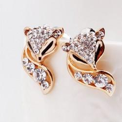Moda Linda Dorado zorro diamantes de imitación Aretes