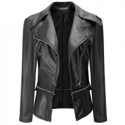 La chaqueta de la cremallera del cuero de la PU de la moda cubre la chaqueta de cuero de la motocicleta de la ropa de la PU