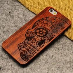 Caja fina de madera del totem de la flor del hueso de los esqueletos fino para Iphone 5 / 5S / 6 / 6Plus