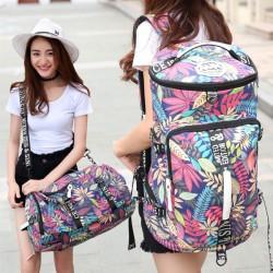 Ocio tambor al aire libre lona mochila hojas de flores multifunción bolso de viaje mochila grande