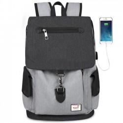 Bolso de viaje de la interfaz USB de la mochila de la escuela de la gran capacidad de la solapa de la lona del muchacho único