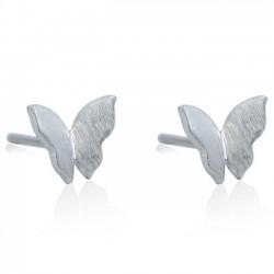 Original Puro Mariposa Sencillo Cepillado Plata Mini Linda Animal Arete Studs